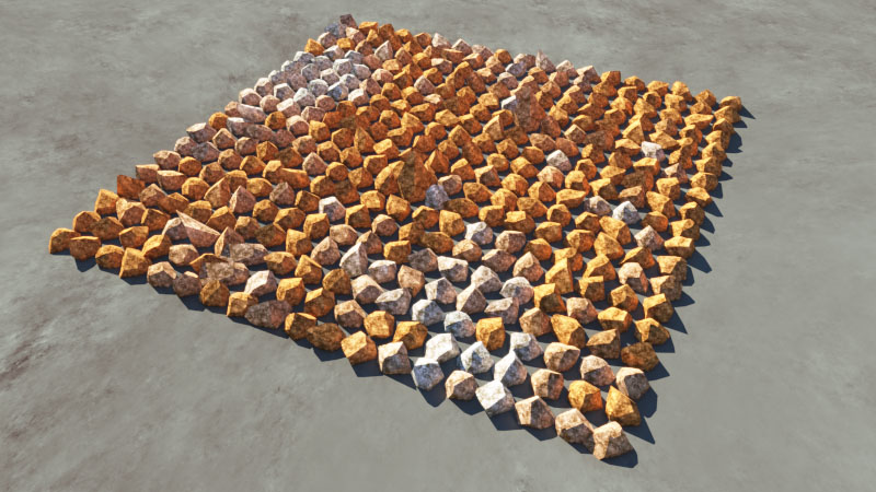 Rendered image of rock population with the diffuse colour multiplier enaabled.