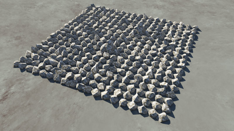 Rendered image of rock population.  Rock object has been surfaced with a power fractal shader.