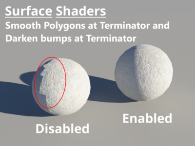 Comparison with Smooth Polygon Terminator and Darken bumps at terminator enabled.