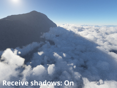Receive shadows from surfaces = On