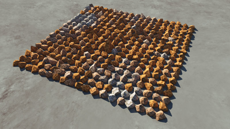 Rendered image of the rock population with the tint applied.
