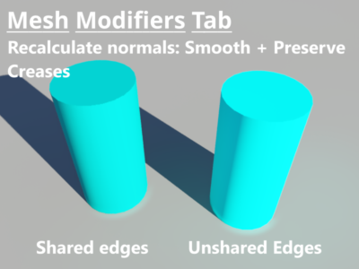 Normals recalculated with Smooth + Preserve creases.