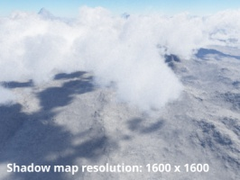 Shadow map resolution = 1600 x 1600
