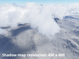 Shadow map resolution = 400 x 400