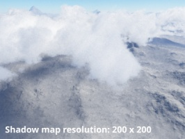 Shadow map resolution = 200 x 200